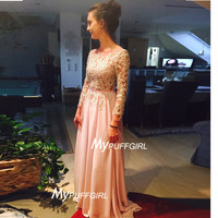 Open Back Long Sleeves Chiffon Prom Dress With Beaded Lace Appliques
