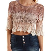 Natural Combo Ombre Crochet Crop Top by Charlotte Russe