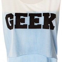 White & Blue Ombre GEEK Cropped Slogan Sheer Burnout Vest Top -  from Lavish Alice UK