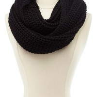 Chain Knit Infinity Scarf by Charlotte Russe - Black