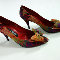 1980s peacock heels, silk pointed toe high heels with bow shoe clips, J Rene 8.5 N