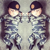 Newborn Baby Boys Girls Clothes Long Sleeve Camouflage T-shirts and Pants Infant 2pcs Sports Clothing Set Toddler Outfits