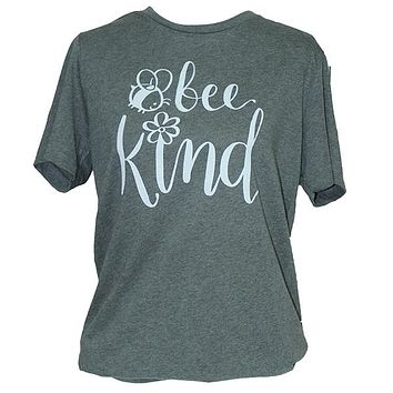 Southern Attitude Bee Kind Soft Canvas Grey T-Shirt