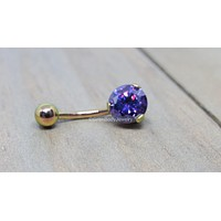 Prong set royal purple gemstone rose gold belly ring 14g titanium internally threaded VCH piercing bar