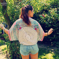 Bohemian Top Bolero Shawl Shrug Jacket Batwing Kimono Yoga Sleeves 1960s Boho Hippie Upcycled Recycled Clothing OOAK by TheBohemianDream