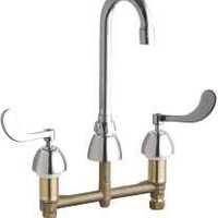 Chicago Faucet Concealed Hot And Cold Water Sink Faucet 3-1/2 In. Gooseneck Spout With Two Wrist Blade Handles, Lead Free