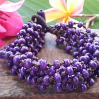 Purple Torsade Bracelet Wood Beaded Mala Style Fair Trade