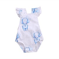 2017 Ruffled Newborn Baby Girl Romper Summer Sleeveless Backless Elephant Print Jumpsuit One Pieces Sunsuit Outfits 0-24M