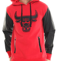 Chicago Bulls Marled Hoodie w/ faux leather sleeves by NBA, MLB, NFL Gear
