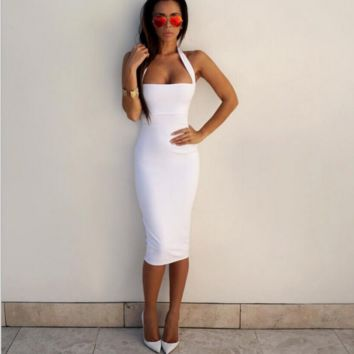Hanging neck sexy white dress