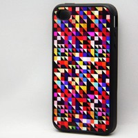 Colorful Triangle iPhone 4 and iPhone 4S Case Hard Plastic Case,Rubber Case
