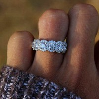 US Gorgeous Round White Sapphire Wedding Ring 925 Silver Bride Jewelry Size 4-12
