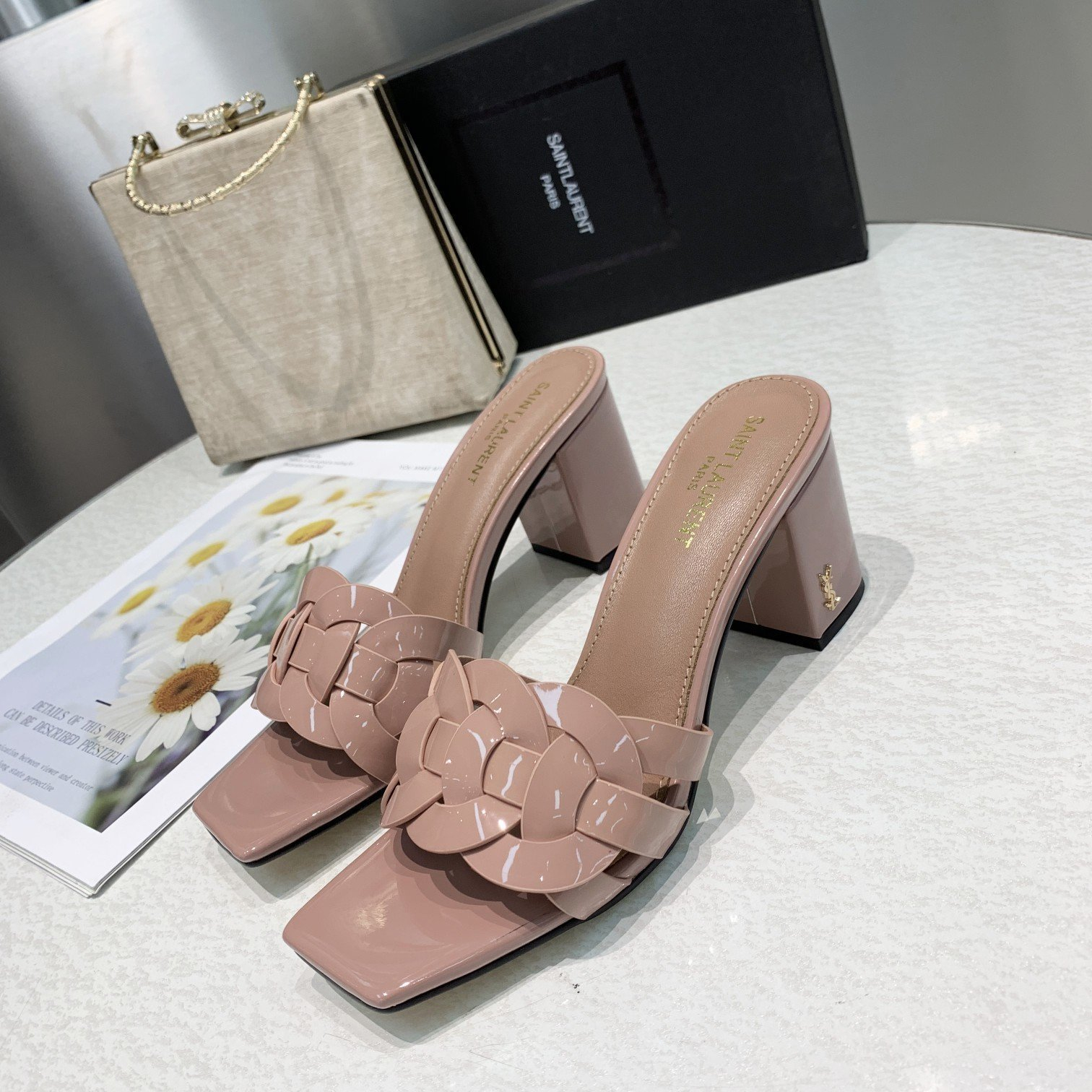 Image of ysl women casual shoes boots fashionable casual leather women heels sandal shoes 113