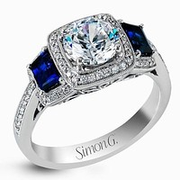 Simon G. Halo Three Stone Blue Sapphire Engagement Ring