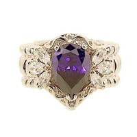 Large Amethyst Color Pear Shape Cubic Zirconia Stretch Ring