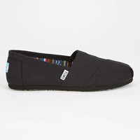 Toms Womens Canvas Classic Slip-Ons Black/Black  In Sizes