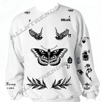 Allntrends one direction Shirt Harry Style Tattoo Sweatshirt (XXL, White)