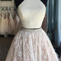 2 Pieces Charming Short Lace Beaded Gorgeous Homecoming Dresses K223