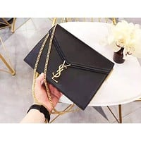 YSL fashion classic pure color leather shoulder bag hot seller casual lady shopping bag