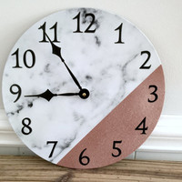 "White Faux Marble Print Wall Clock w/Rose Gold - Upcycled 12"" Vinyl Record - Modern Home Decor - Functional Wall Art"