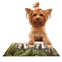 "Jillian Audrey ""Green Grass Cactus"" Green Brown Dog Place Mat"