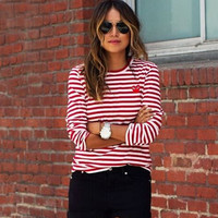 Red Striped Sweater Hedging Blouse
