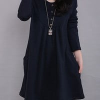 Dark Blue Long Sleeve Mini Dress with Pockets