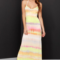 O'Neill Kaya Peach and Chartreuse Tie-Dye Maxi Dress