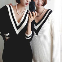 Striped Long Sleeve Knitted Long Sweater