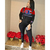 Champion Embroidered Letters Women's Outdoor Joker Casual Two-Piece Set black