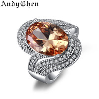 Amber Stone 925 Silver Filled Trendy Wedding Rings for Women Crystal Jewelry Bijoux Femme Engagement Bague Accessories ASR240
