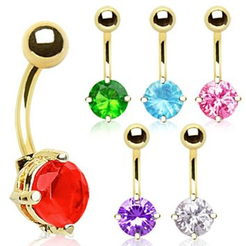 Gold Plated Prong Set 8mm Round CZ Navel Ring