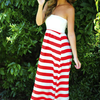 Let's Go Sailing Maxi Dress: Red/White | Hope's