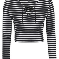 PETITE Tie-Up Stripe Top - Tops - Clothing
