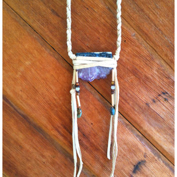 Amethyst  deerskin wrapped spirit talisman necklace // bohemian, crystal leather necklace // free shipping domestic, spirit tribe