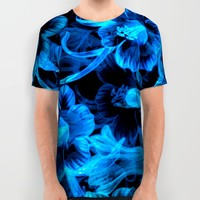Blue Flowers All Over Print Shirt by Page394