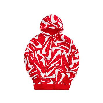 Nike Men's NSW Hand-Drawn All Over Print Club Fleece Red White
