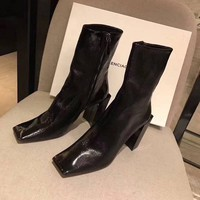 BALENCIAGA  Trending Men Women Black Leather Side Zip Lace-up Ankle Boots Shoes High Boots