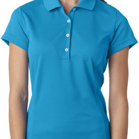 adidas ladies' climalite(R) textured solid polo - solar blue / white (xl)