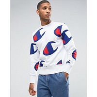 Champion Fashion Men Women More Print Long Sleve SweaterShirt White