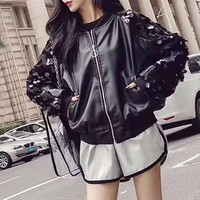 Woman's  Fashion  Long Sleeve  Embroidery Sequins Locomotive Clothing Zip Cardigan Leather Jacket Coat Tops