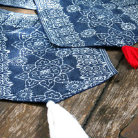 Boho Table Runner In Natural Hmong Indigo Batik Cotton With Tassel Ends,  5 Foot, ** Free worldwide shipping **