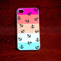 iphone 4 Case, iPhone 4s case Nautical Anchor with Colorful Stripe iPhone 4 Cases, Iphone 4s Cover,Case for iPhone 4