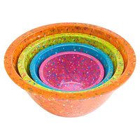 Confetti Nested Mixing Bowls (4-piece Set) - Assorted Orange. Environmentally Friendly. Use for Mixing or Serving.