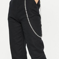 Missguided - Black Chain Detail Cargo Pants