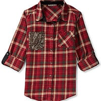 Miss Me Plaid & Sequin Button-Up Top - Red
