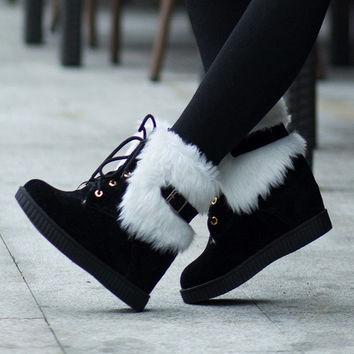 Women's Cute Snow Boots Hidden Wedge Heels Lace-up Fur Lining Ankle Boots = 1932336452