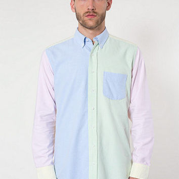 American Apparel - Color Block Stone Wash Oxford Long Sleeve Button-Down with Pocket