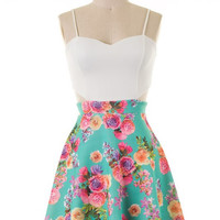 Floral Dress with Side Cut Outs - Aqua