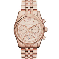 Michael Kors Mid-Size Rose Golden Stainless Steel Lexington Chronograph Watch